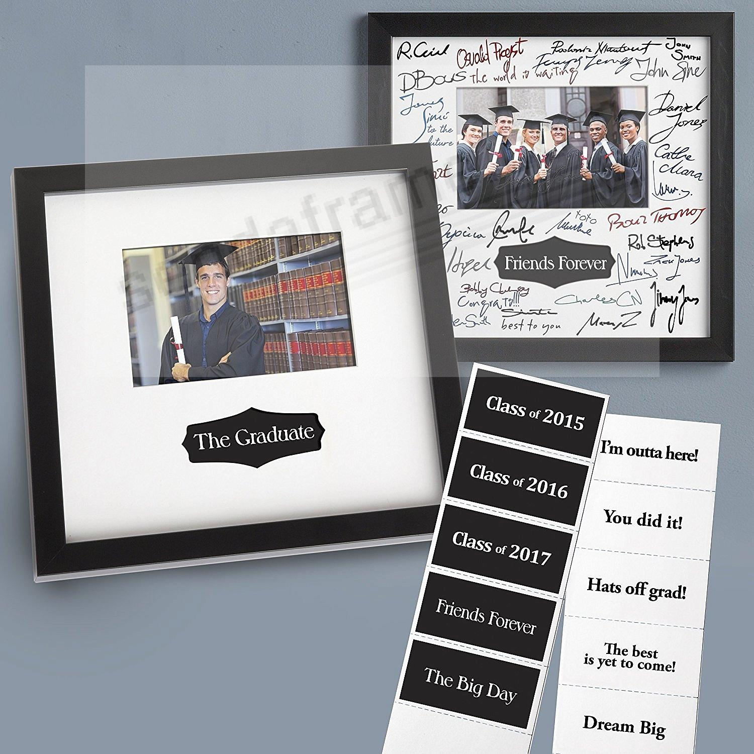Graduation Autograph Frame In Black Finish With Interchangeable