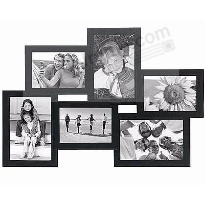 CROSSROADS Black 6 multi-opening wood collage frame for 3½x5 + 4x6 ...