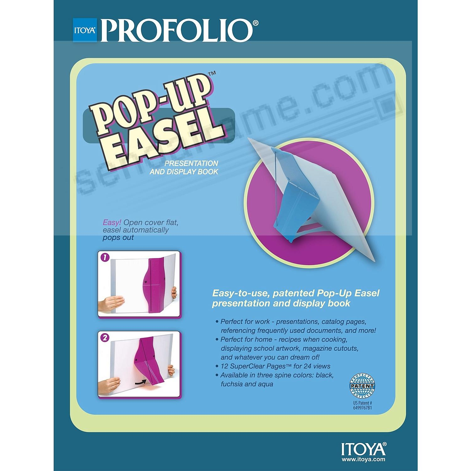 Black Itoya Letter Size Pop-Up Easel Profolio for 8.5 x 11