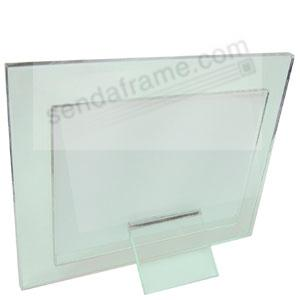 moda solid glass 7x5 frame w foot pedestal floats your photo