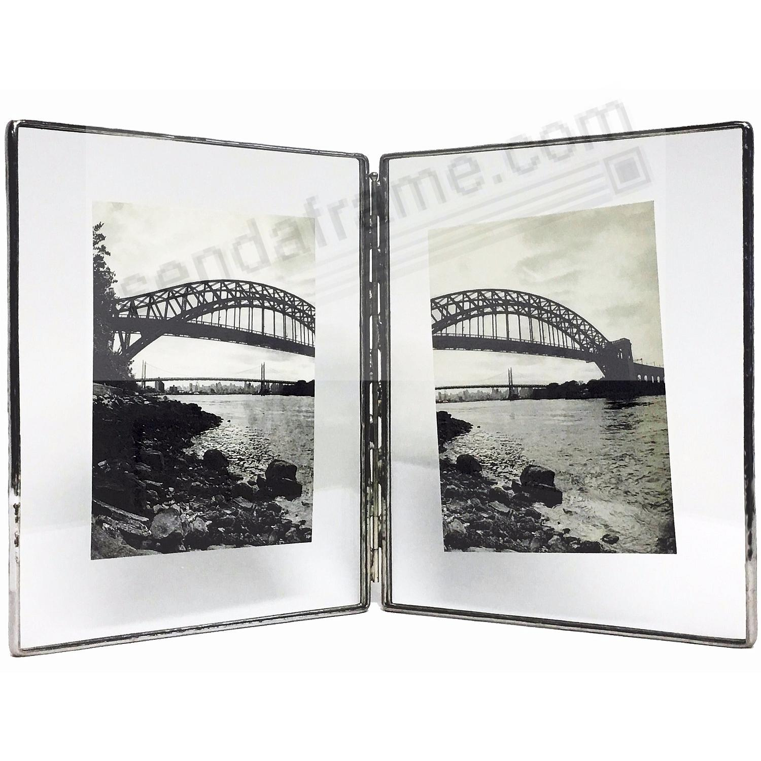 SILVER + Clear Glass Float Frame 4x5/3x4 Hinged Double by