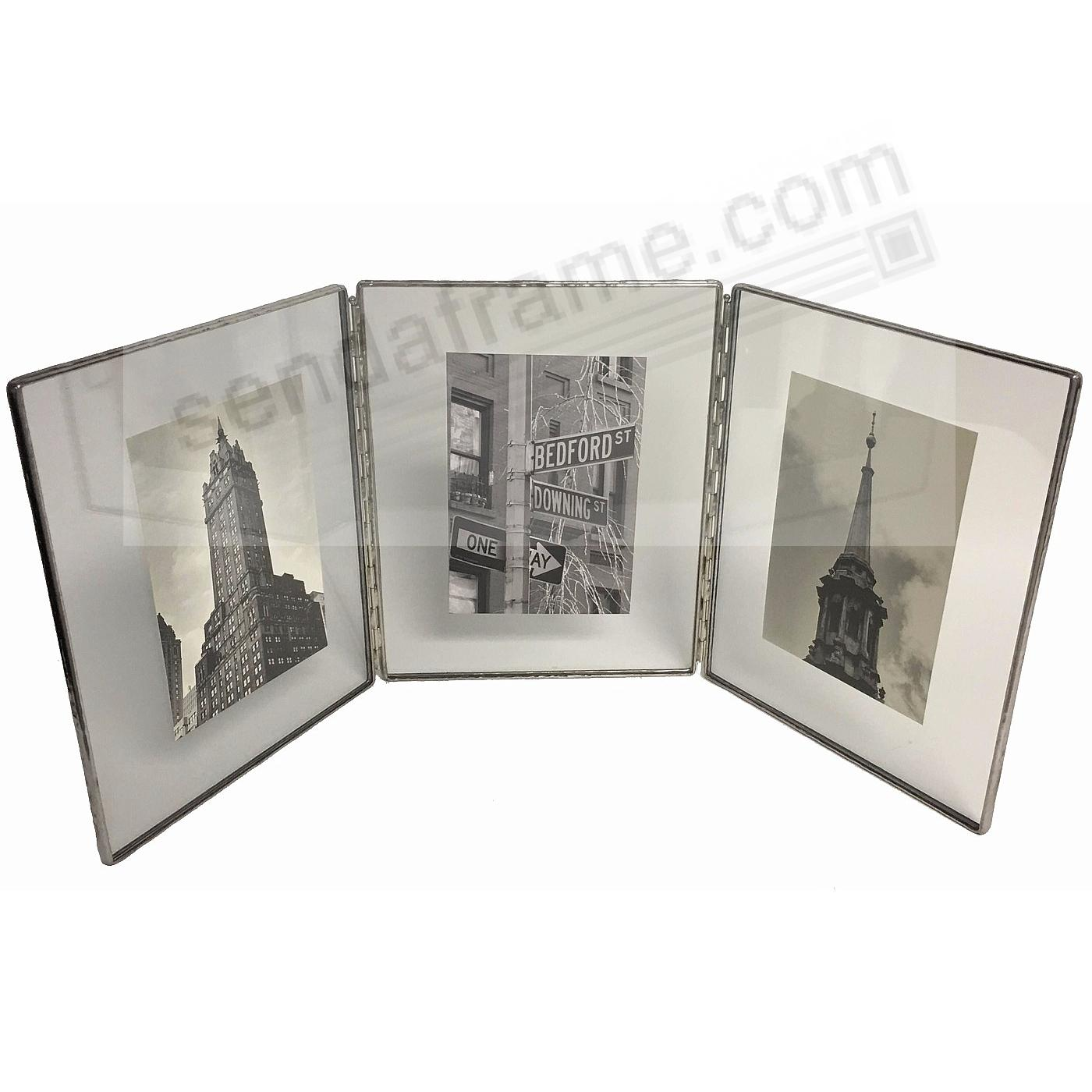 Clear Glass Float Frame 4x5/3x4 Hinged Triple Silver by Bedford ...