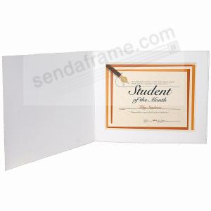 white cardstock paper certificate 11x8 folder frame w plain border