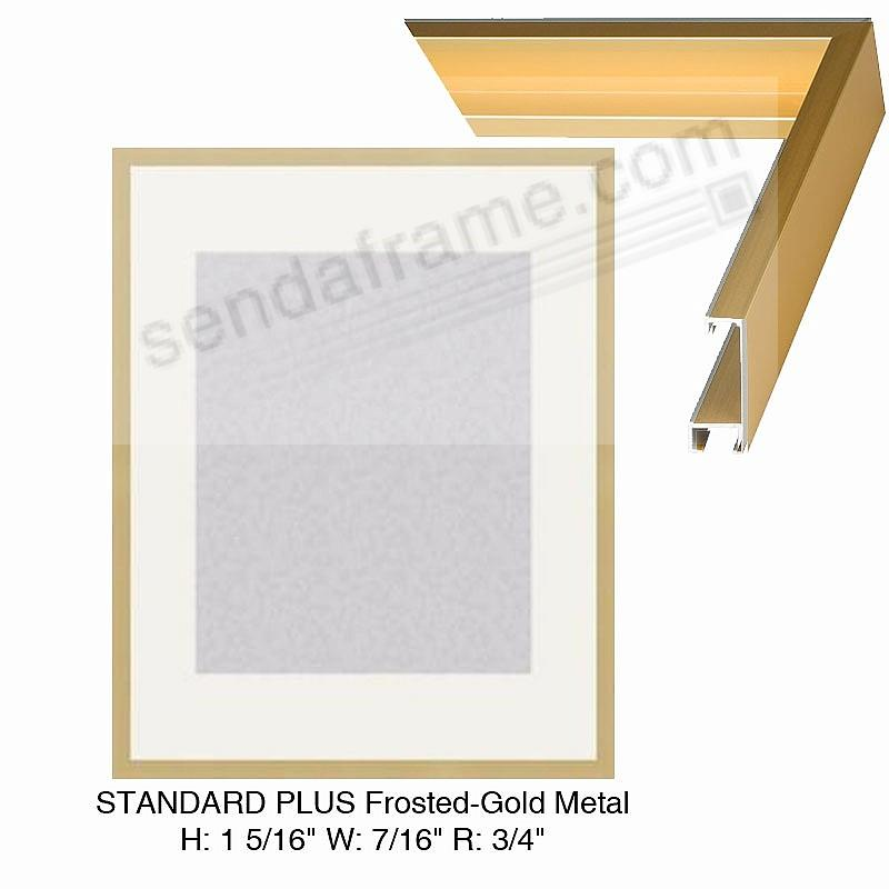 Custom-Cut™ STANDARD PLUS Frosted-Gold Metal frame H:1-5/16 W:7/16 R ...