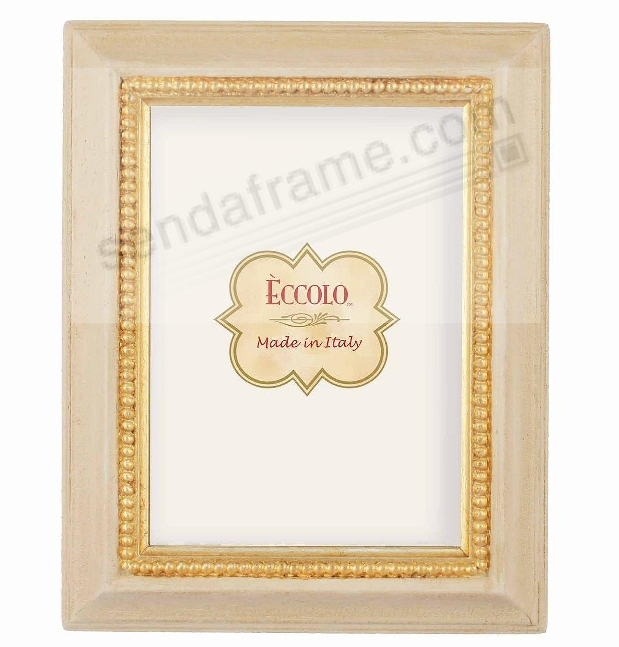 Antique Ivory And Gold Bead Carved Wood 4x6 Frame By