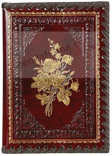 Embossed Burgundy Victorian Rose Refillable Leather Like