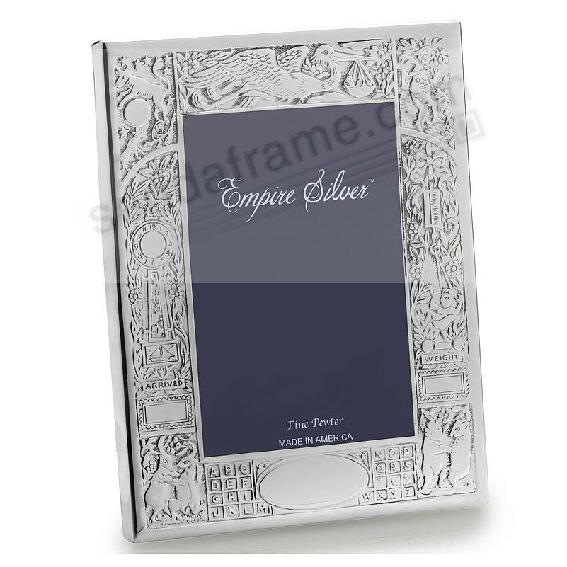 Heirloom fine pewter birth record frame by empire silver for Engraved digital photo frame
