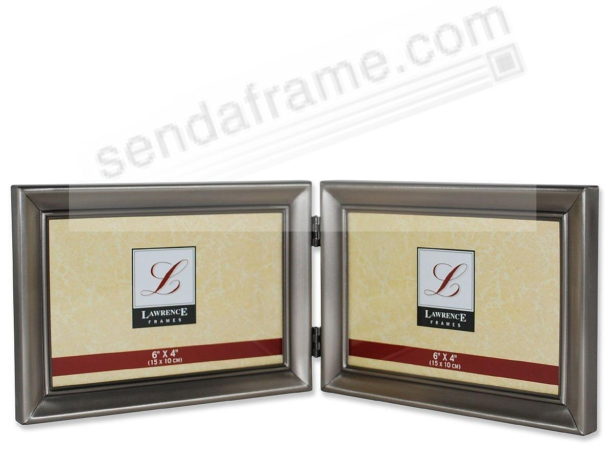 Brushed pewter landscape hinged double frame - Picture Frames, Photo ...
