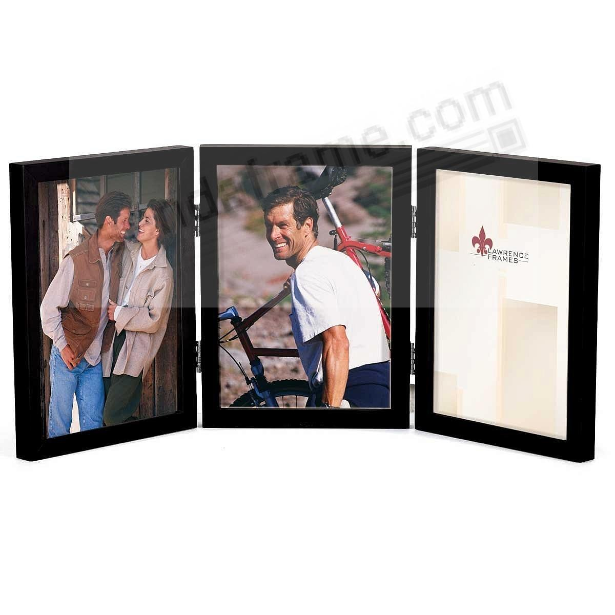 ebony black hinged triple in 4x6 size picture frames photo albums