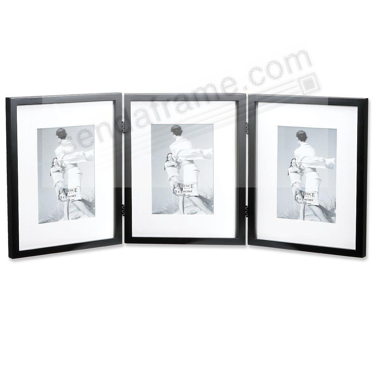 Hard-To-Find hinged triple 8x10/5x7 matted ebony-black frame ...