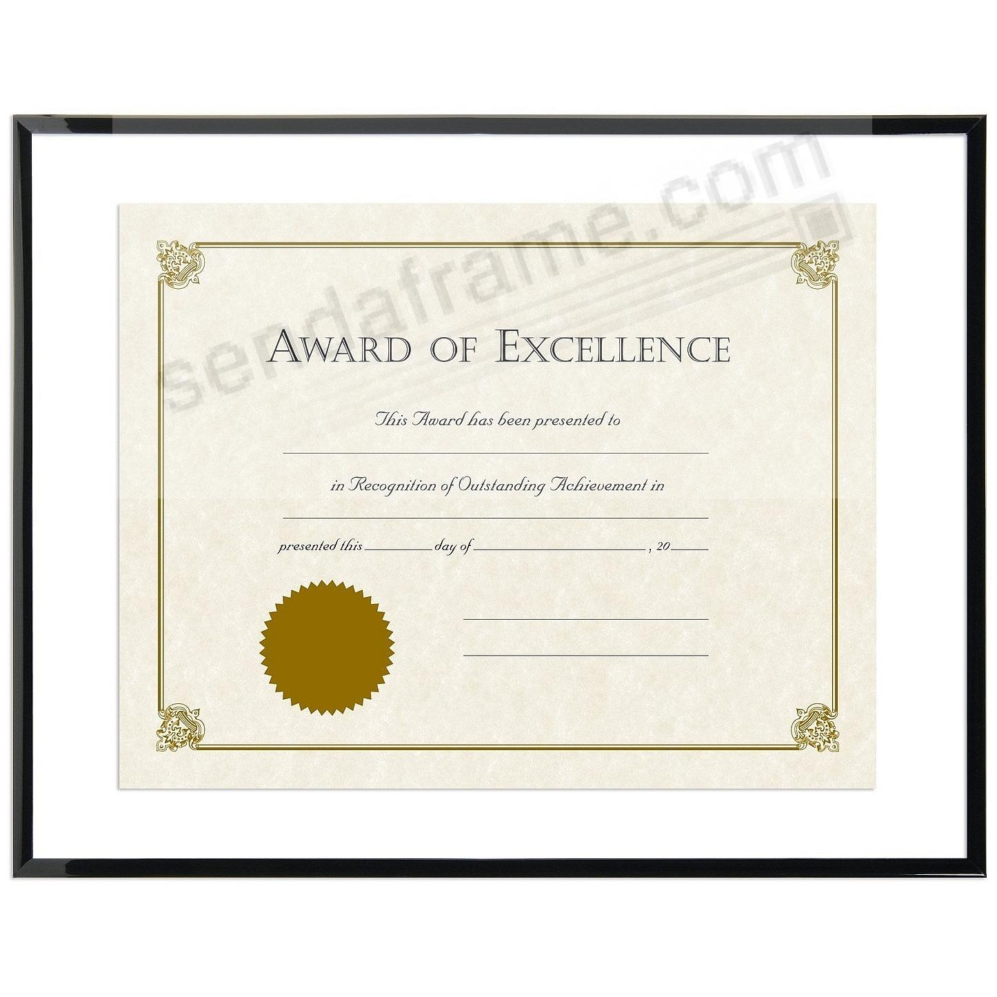 FLOAT Certificate frame 14x11/11x8½ Black ABS plastic by MCS ...