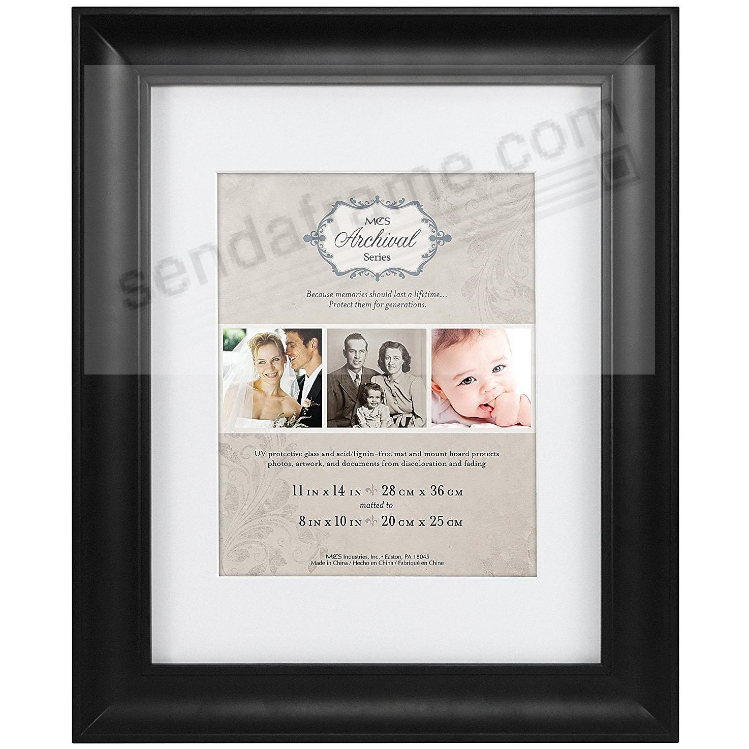 Black Archival Matted Wood Frame 11x148x10 By Mcs Picture Frames
