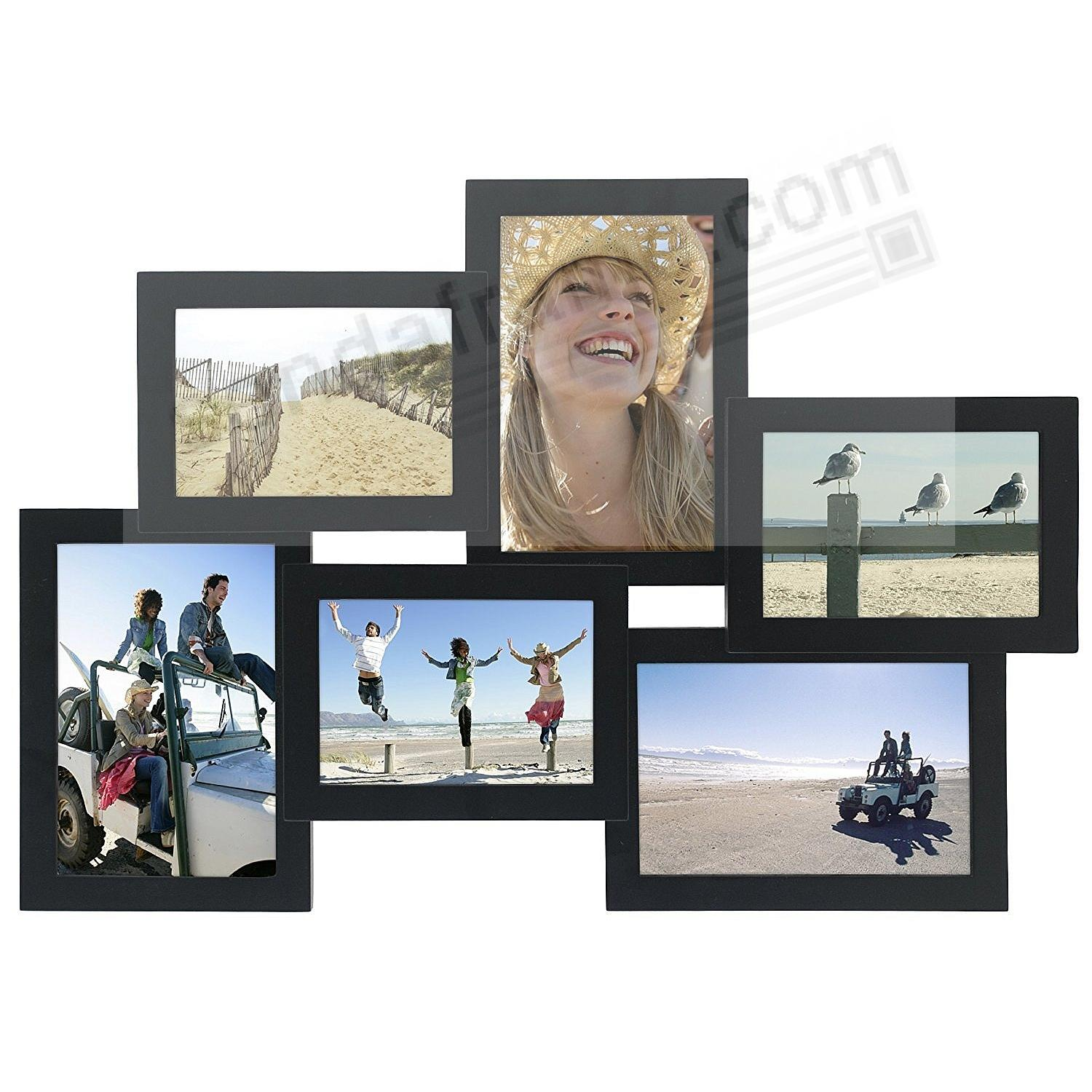 Crossroads Black 6 Multi Opening Wood Collage Frame For 3½x5 4x6