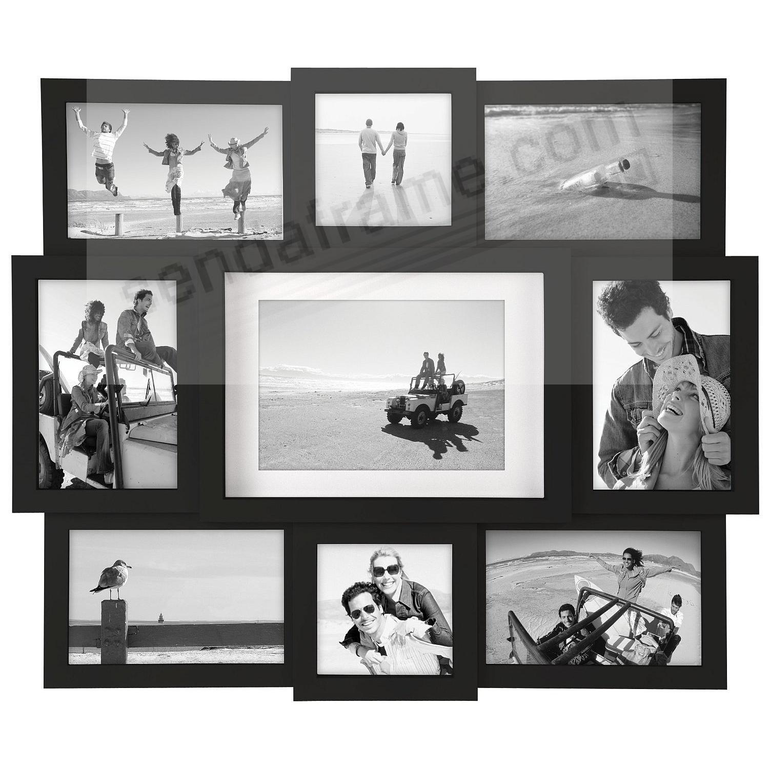 Black 9-opening collage frame for 4x4/4x6/5x7 prints by Malden ...