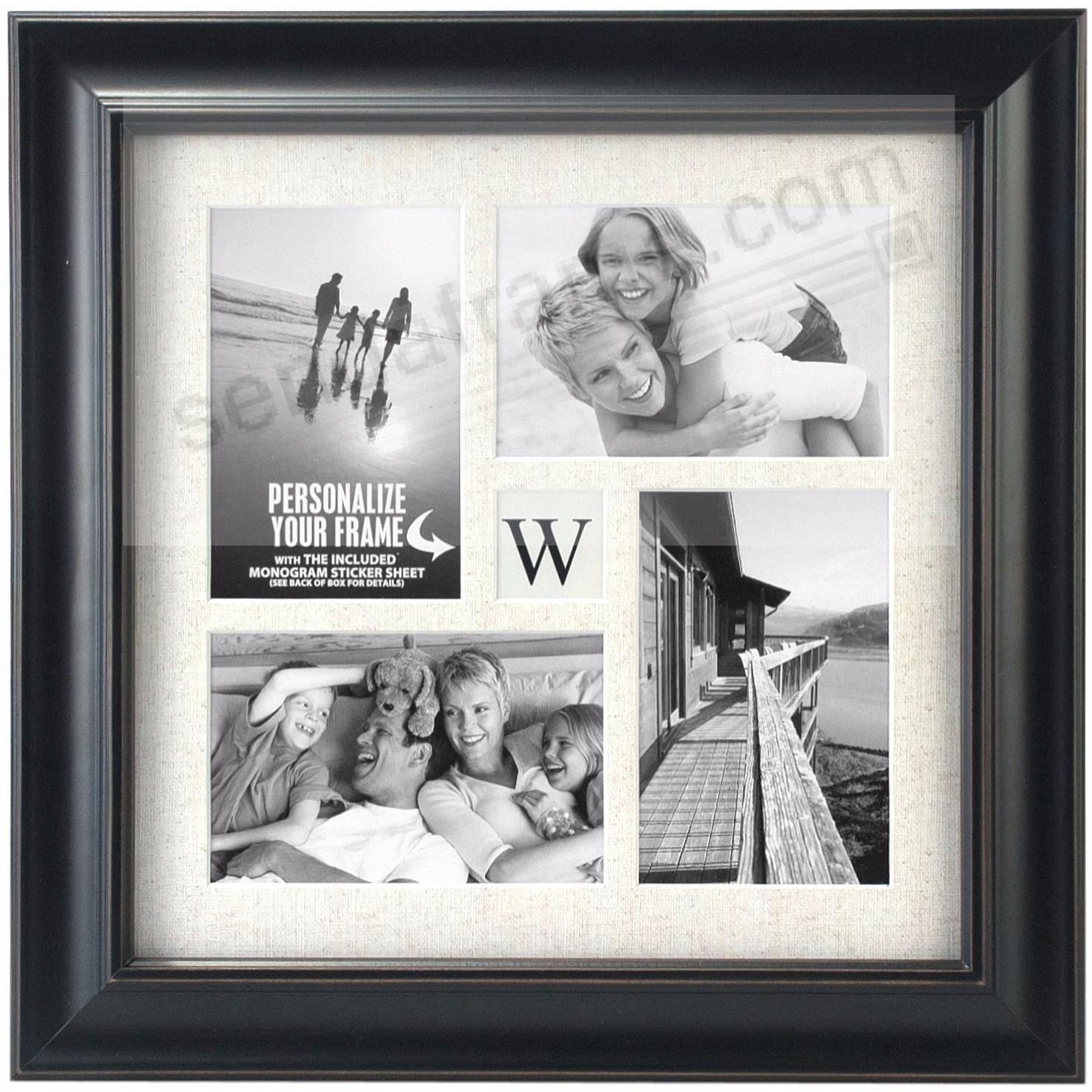 BARNSIDE BLACK INITIAL collage frame displays (4) 4x6 photos by ...