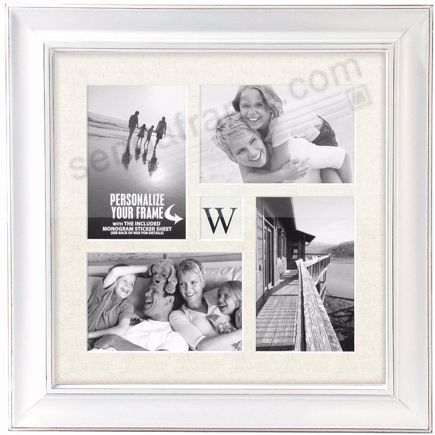 BARNSIDE WHITE INITIAL collage frame for 4 - 4x6 prints by Malden ...