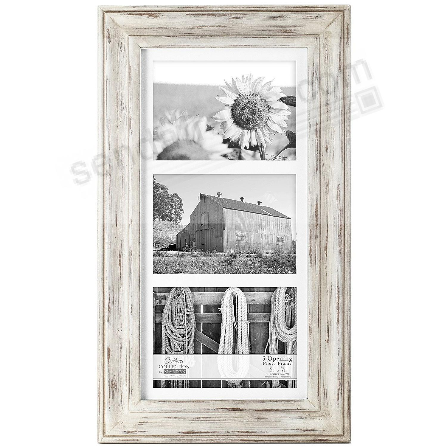 WHITMAN WHITE WASH matted triple 5x7 frame by Malden Design ...
