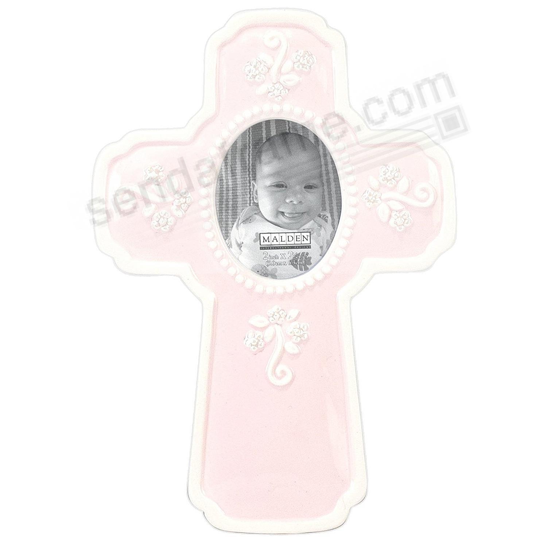 Pink Baptism Cross Ceramic Keepsake frame by Malden® - Picture ...