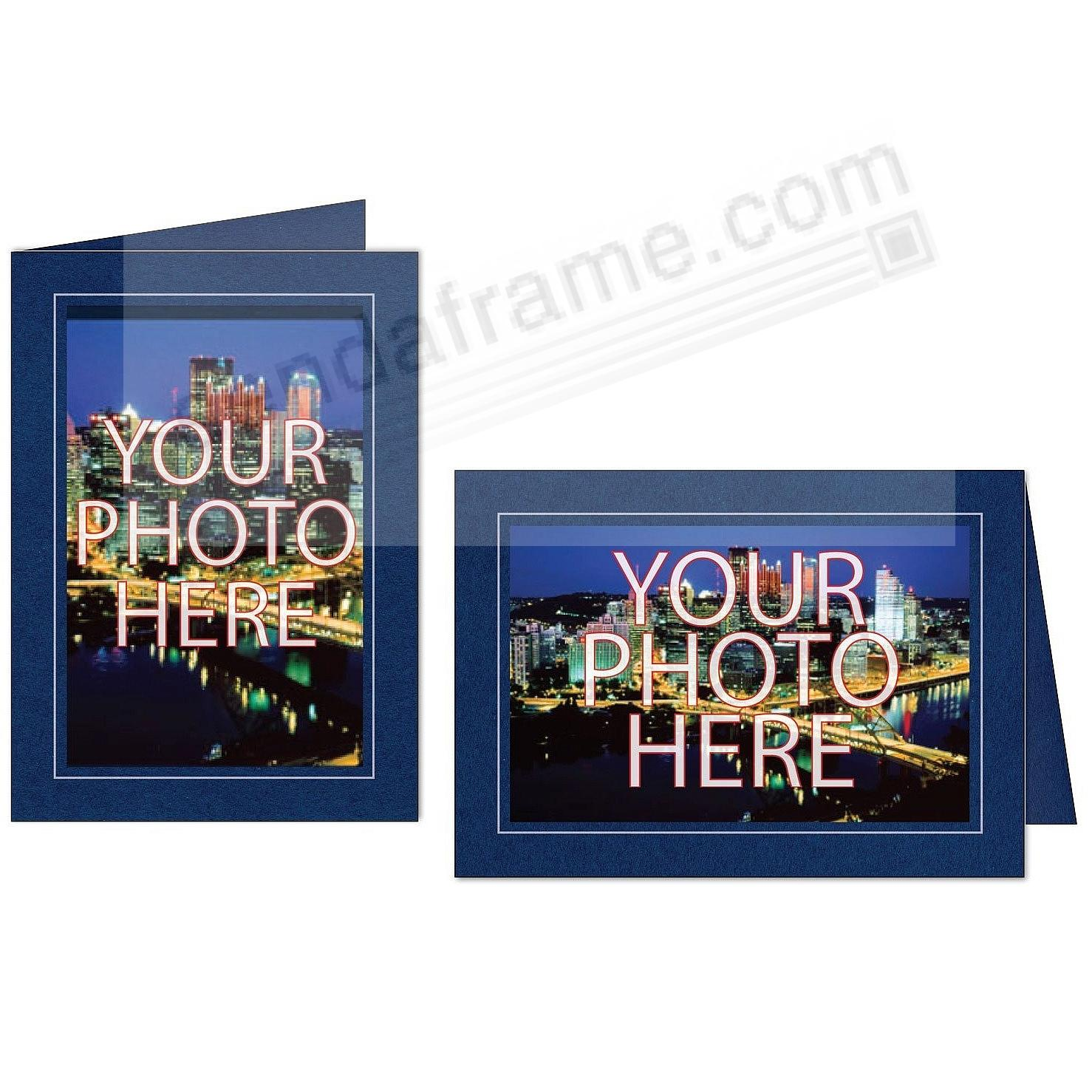 navyblue wsilver trim border photo insert card sold in