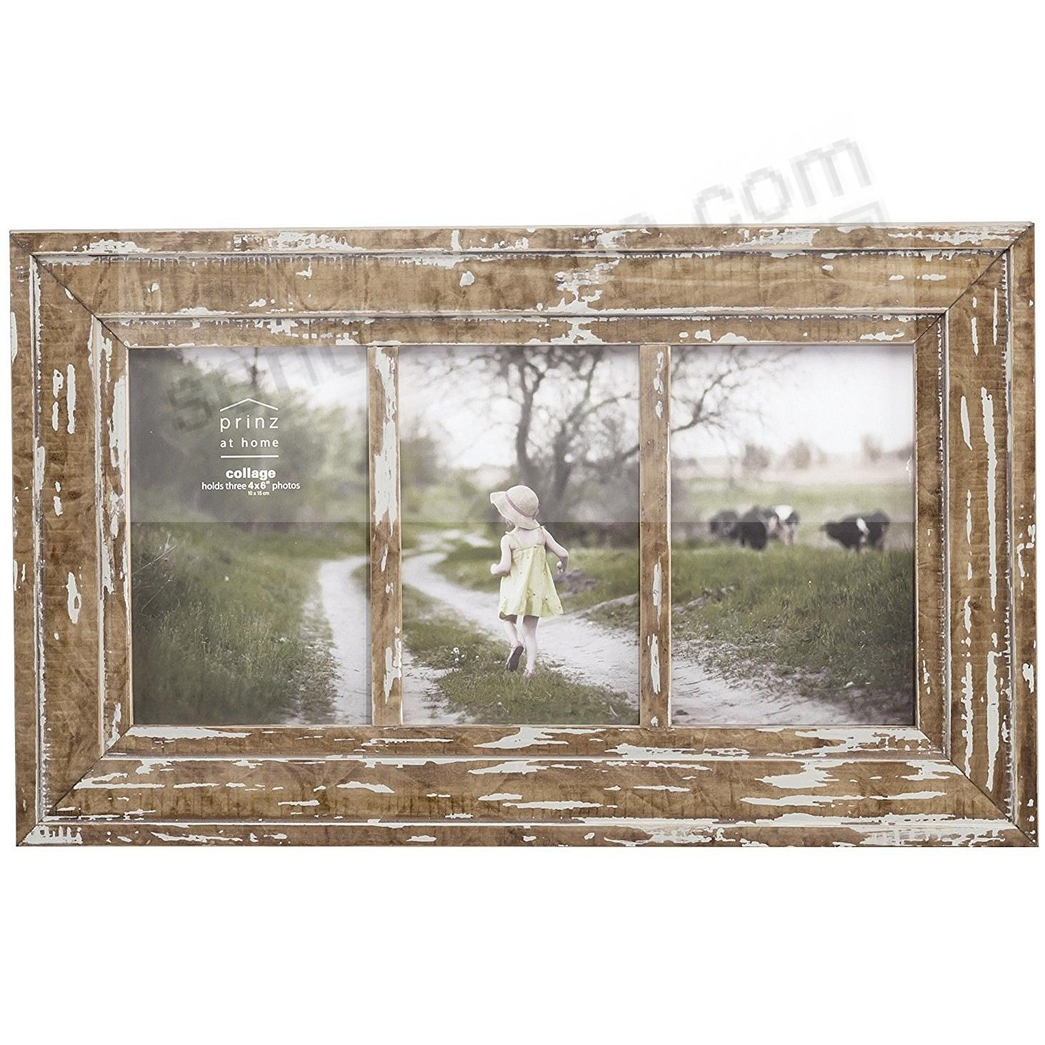 Old Mill Distressed Triple 4x6 White Wood Collage Frame By Prinz