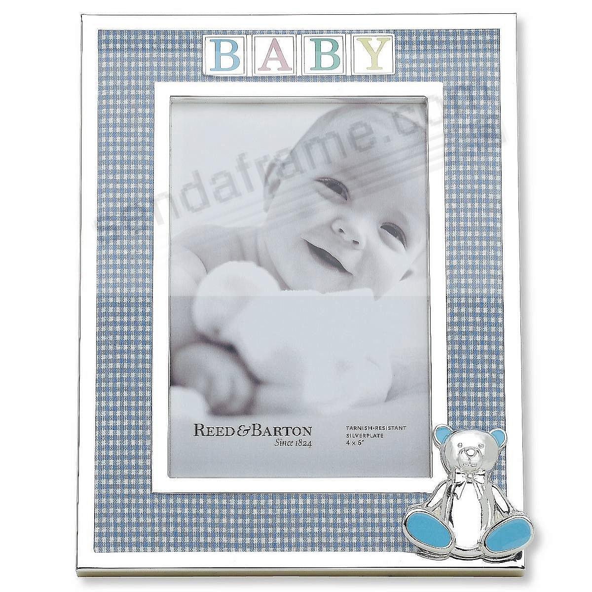 Blue GINGHAM Fabric with Teddy Bear accent picture frame by Reed ...