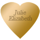 HEART engravable brass 2x2 permanent stick name plate