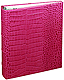 Standard 3-ring Pink Croco Fine European Leather leather binder (unfilled) by Graphic Image�