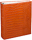 Standard 3-ring Orange crocodile-look Fine European Leather binder (unfilled) by Graphic Image�