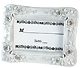 Elegant white placecard frames with crystal sprinkles