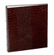 Standard 3-ring Brown Crocodile-pattern Fine Leather album with slip-in pockets by Graphic Image�
