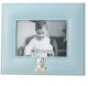 Adorable blue faux leather frame with silver teddy bear by Lawrence�