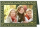 Embossed GREEN HOLLY BORDERPremium Photomount insert Holiday Card (sold in 25s)