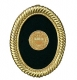 SCROLLING MINI-OVAL 18kt gold vermeil over fine pewter frame by Elias Artmetal�