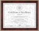 High-gloss mahogany certificate style