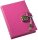 Pink DIARY (Small) with HEART LOCK Saffiano eco-leather by Post Impressions / div Graphic Image�