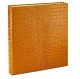 Standard 3-ring Goldenrod Crocodile-pattern Fine Leather album with slip-in pockets by Graphic Image�