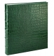 Standard 3-ring Bottle-Green Crocodile-pattern Fine Leather album with slip-in pockets by Graphic Image�