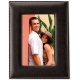 SADDLE Stitched Leather 5x7 frame in Ebony-Black