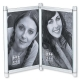 LUMA Gatefold Silver Hinged swivel duo for 4x6 prints